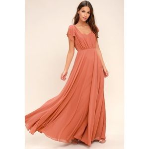 Lulu's Falling For You Dress Rusty Rose XS